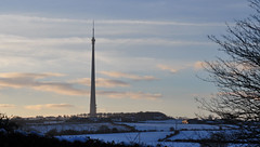 Emley Moor Transmitter Tower (littlestschnauzer) Tags: uk trees england sky white snow tower weather clouds rural landscape countryside tv nikon snowy landmark grade aerial fields tall mast moor signal listed huddersfield transmitter wisps emley d5000