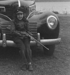 Found Negatives 1940's - Cute Girl with Rifle - Detail (Mike Leavenworth) Tags: girl car 22 gun rifle stevens pump