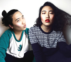 Twins (Eric win) Tags: china woman man make up fashion photoshop hair photo high twins model eric shot top chinese super ps best lipstick wang rid  photography