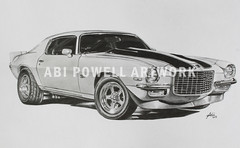 Pencil Drawing Chevy Camaro Z28 1971 (AbiiMedia) Tags: art chevrolet car pencil sketch drawing fineart camaro chevy abi reallife realism pencildrawing abii abiimedia abipowell abipowellart