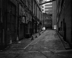 back street in newcastle (RichardJamesPalmer) Tags: street white black 120 mamiya film newcastle landscape photography landscapes shoot iso400 north documentary rangefinder ishootfilm east iso ilfordhp5 400 epson hp5 medium format analogue northeast ilford f4 80mm v700 mamiya7ii filmisnotdead 7ii epsonperfectionv700