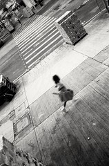 (David Davidoff) Tags: street people bw motion film running analogue kodaktmax leicam3