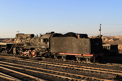 I_B_IMG_7250 (florian_grupp) Tags: china railroad sunset train point landscape asia mine desert muslim railway steam xinjiang mikado locomotive coal js steamlocomotive 282 opencastmine stabling sandaoling xibolizhan