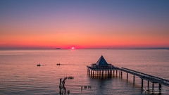 The sun is coming out of the water (Nolle15) Tags: sunrise de deutschland aerial inspire sonnenaufgang hdr usedom x5 mecklenburgvorpommern luftaufnahme heringsdorf dji zenmuse