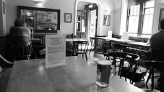 Cloisters on a summer day 01 (byronv2) Tags: blackandwhite bw west beer glass monochrome bar table scotland blackwhite pub edinburgh drink glasgow drinking ale meadows cloisters tollcross broughamstreet stmungo edimbourg saintmungo westbrewery