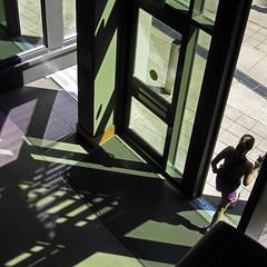 exit the frame (weltreisender2000) Tags: door atlanta light shadow green window lines purple explored