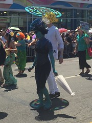 Coney Island Mermaid Parade (Cait_Stewart) Tags: nyc newyorkcity blue newyork coneyisland island parade parasol mermaid coney mermaidparade pufferfish iphone coneyislandmermaidparade