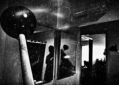 Mirrors in the bathroom (Dom Guillochon) Tags: self bathroom noiretblanc mirrors plunger
