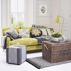 Yellow & Gray Living Room (Heath & the B.L.T. boys) Tags: yellow gray livingroom pillow couch tray rug coffeetable wicker floorlamp