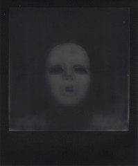 Day 027 (H o l l y.) Tags: portrait bw white black color self vintage project square polaroid weird mask no retro creepy indie impossible