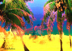 Surfs Up (brillianthues) Tags: trees beach collage photoshop photography colorful palm topaz photmanuplation