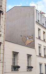 angel cat on a hot tin roof (stephenweir) Tags: streetart paris france art graffiti latinquarter wallmural unsigned streetmural catonahottinroof cartooncat angelcat