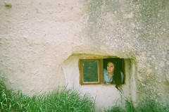 A 5th Century Church Window (corey jackson) Tags: portrait film fuj instantfilm instantcamera disposablecamera goreme turkey cappadocia