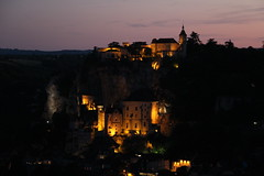 Rocamadour by night (bmonmirel) Tags: pink trees sunset sky france west nature night landscape lights rocks sundown natural citadel south cit lot dordogne cliffs pinksky roussillon languedoc rocamadour falaises ombres shading valle quercy rocamadori