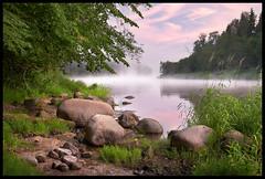Calm stones (Reinis Crulis) Tags: sky mist green sunrise river landscape stones magenta latvia rivers latvija gauja gaujanationalpark ainava gaujasnacionlaisparks latija fujifilmxf1855mmf284rlmois fujifilmxt1 latvijasainava