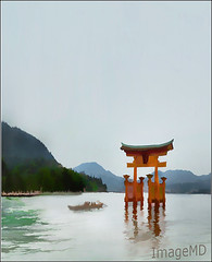 Torii Gate (ImageMD) Tags: japan watercolor boat gate shrine miyajima shinto torii topaz itsukushima buzsim