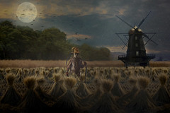 The Miller (brian_stoddart) Tags: light windmill field dusk straw creepy figure