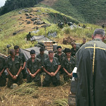 Vietnam War 1966 - Soldiers pray with the army chaplain on the front-line thumbnail