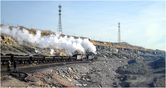 Two for One (Welsh Gold) Tags: china train open pit double header and xinjiang coal js province locomotives 8167 8225 sandaoling