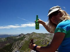 Edita enjoys a beer and a sandwich on the summit of Monte Ginepro (markhorrell) Tags: walking lazio apennines montiernici