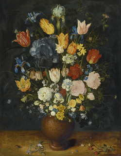 Jan Brueghel the Elder — Still Life of Flowers in a Stoneware Vase, c. 1607. Painting: oil on oak panel, 67 x 51 cm. Private collection. Based on Brueghel's correspondence, we know that the artist's ambition was to depict the rare and beautiful in nature,