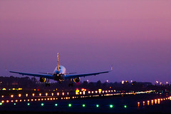 Welcome. (arturii!) Tags: barcelona city trip travel sunset sky urban reflection beauty night wow airplane lights airport amazing cool nice interesting wings holidays europe track tour view purple superb aircraft awesome great bcn engine catalonia landing route telephoto final journey stunning end destination viatge catalunya welcome visual vacations impressive catalua gettyimages arriving elprat arturii arturdebattk canonoes6d