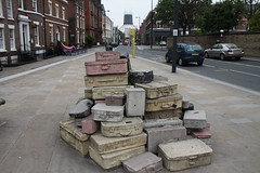 Suitcases- sculpted in stone (bhatto) Tags: liverpool immigrnats suitcasesculptures