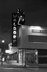 Waldorf Hotel (Orion Alexis) Tags: street old blackandwhite film monochrome night vancouver 35mm hotel downtown waldorf retro east fujifilm neopan 100 hastings van across eastside tx1