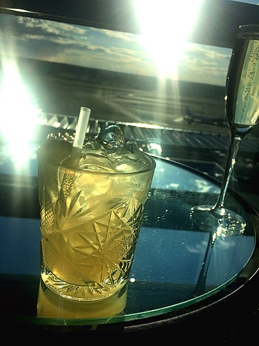 Enjoying a Lynchburg Lemonade and some Cava in the sunset over Uppland Lynchburg Lemonade Cava Arlanda Airport Sunset Drinks at Kitchen & Table