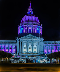 friday night center stage (pbo31) Tags: sanfrancisco california plaza gay summer panorama black color june night dark nikon purple cityhall stage large pride panoramic illuminated stitched civiccenter 2016 boury pbo31 d810