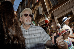 In a flash he was gone! (Baz 120) Tags: life street city portrait people italy rome colour roma contrast europe italia faces candid flash strangers streetphotography streetportrait olympus streetphoto unposed streetfaces omd decisivemoment candidportrait candidphotography m43 streetcandid mft streetphotograph primelens em5 romestreets romepeople candidstreet candidface flashstreetphotography 75mmfisheye romecandid grittystreetphotography