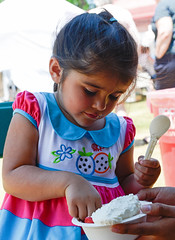 Eating strawberry shortcake at the South Berwick Strawberry Festival (Blake Gumprecht) Tags: girl eating maine strawberryshortcake strawberryfestival southberwick