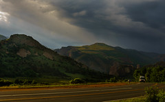 The Road (SahilH) Tags: sonyalphadslr sony slta99 sonydslr mountains sky sun light colorado road
