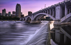 minneapolis minnesota downtown river waterfalls (Dan Anderson.) Tags: bridge pink sunset water minnesota river mississippi long exposure downtown minneapolis waterfalls mn rushing saintanthonyfalls