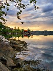 Ryksund, Norway (Vest der ute) Tags: morning trees houses seascape norway reflections landscape mirror rocks rogaland fav25 g7x ryksund