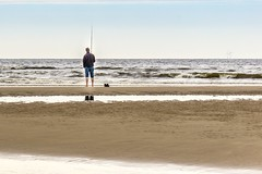 Fishing on the beach (pel16931) Tags: sea holland beach water netherlands strand coast sand nederland noordzee zee northsea nl bergen noordholland zand egmond kust egmondaanzee sonyilce6000