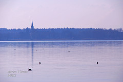 Across the Water. (Aaron T Jones) Tags: blue sky lake bird tower church water silhouette skyline austria boat town sterreich nikon harbour gull pillar maritime nautical bodensee constance lochau oesterreich d60 aquabird horizonreflection