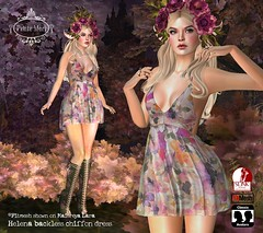 Petite Mort- Helena chiffon dress (Petite Mort- Outfitting the modern bohemian) Tags: sl second life indie teepee event midsummer fashion accessories boho bohemian fantasy roleplay embroidery hippie hippy fairy mesh belleza slink fitmesh maitreya petite mort petitemort