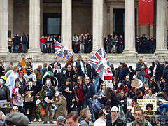 P5045451 (pete riches) Tags: uk london westminster protest trafalgarsquare police flags nationalgallery demonstration banners anonymous whitehall slogans placards metpolice austerity occupy spendingcuts vmasks peteriches occupylondon wearethe99 anonymousmasks vforvictorymasks