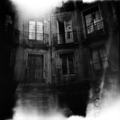 The haunted house (iris_muni) Tags: barcelona 6 white black blanco lomo exposure kodak trix 14 negro gothic haunted spooky diana f multiple activity rodinal vella paranormal barrio minutes ciutat