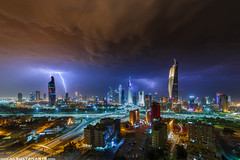The Storm (mr.alsultan) Tags: street city storm clouds canon hit huge 5d thunderstorm lightning kuwait kuwaitcity liberationtower natgeo alhamra markiii 2013 alraya alsultan sarrayat alhamratower mohammedalsultan altijariya