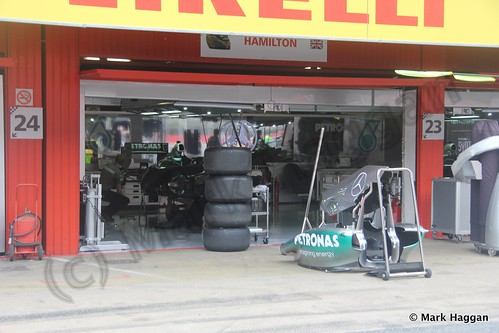 Lewis Hamilton's Mercedes pit garage at the 2013 Spanish Grand Prix