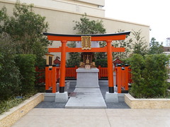 The little shrine (seikinsou) Tags: roof red japan shop corner garden spring shrine peace departmentstore osaka torii hankyu