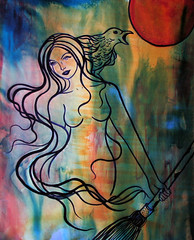 Lilith (celeste_johnston) Tags: woman art painting witch goddess fantasy crow wicca broom acrylics sacredfeminine