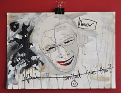 What if i smiled like this? (id-iom) Tags: street urban man never art smile face glitter graffiti acrylic lips vandalism watercolour idiom