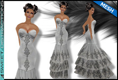 Mesh Tiered Lace Mermaid Gown in Silver (Sweet Distractions) Tags: life mesh sweet lace sl bridesmaid second gown mermaid rigged distractions