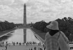 Timeless Visitor (Leptonist) Tags: people blackandwhite bw monument washingtondc dc perspective nationalmall lincolnmemorial conceptual washingtonmonument reflectingpool timeless conceptualphotography lincolnmemorialreflectingpool projectnameless