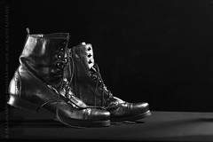 lace boot shuffle (paloetic) Tags: stilllife walking clothing shoes boots pair footwear laceup shootinginblackwhite