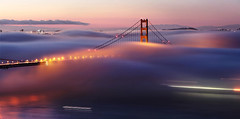 The Golden Gate Bridge - Pink Martini (Andrew Louie Photography) Tags: life california camera city bridge pink blue art coffee fog clouds sunrise canon landscape photography golden bay gate san francisco long exposure cityscape peace expression sunday photographers jazz martini telephoto delight hour saturation area passion today jazzy