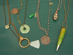 Little Green Pagoda necklaces, 2012; jades, bakelite, old coins